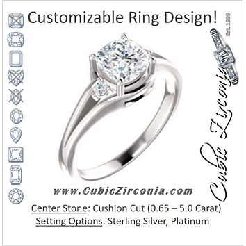 Cubic Zirconia Engagement Ring- The Erma (Customizable Cushion Cut 3-stone Style with Small Round Cut Accents and Tapered Split Band)