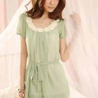 Graceful Drawstring Green Ladies Dresses Wholesale : Yoco-fashion.com