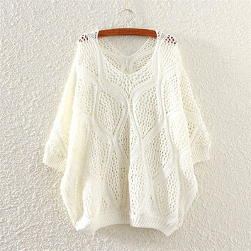 White Comfortable Soft V Neck Womens Knit Pullover Sweater