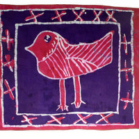 Bird - Batik Wax Print - Children's Drawing - African Wallhanging