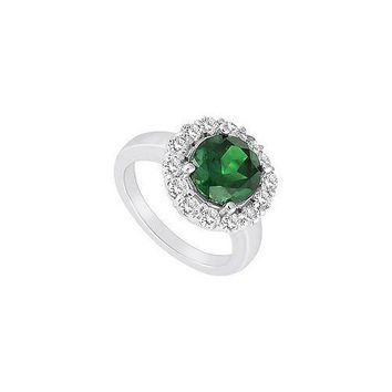 Frosted Emerald and Cubic Zirconia Ring : 10K White Gold - 3.00 CT TGW