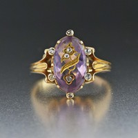 Antique Rose of Sharon Diamond Amethyst 18K Gold Ring