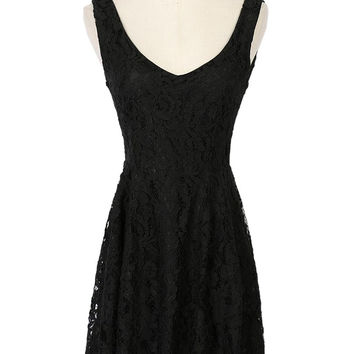 Black Backless Sleeveless Lace Mini Dress