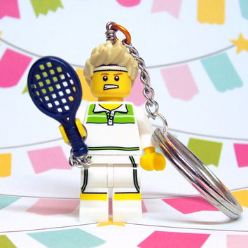 Tennis Pro Keychain - made from Series 7 LEGO (r) Minifigure
