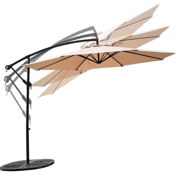C-Hopetree 10' Offset Cantilever Patio Umbrella, Outdoor Hanging Umbrella with Cross Base, 250gsm Polyester Canopy, Beige