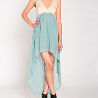 Cross Back Hi-Low Dress in Mint Blue