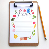 Grocery list, Grocery stationary, paper organization, clipboard, Christmas gift, gift for mom, cute stocking stuffer
