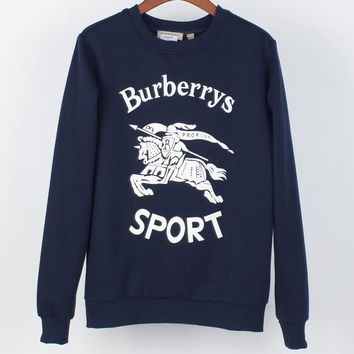 Burberry autumn and winter new fashion knight war horse three-dimensional printing plus velvet round neck pullover sweater