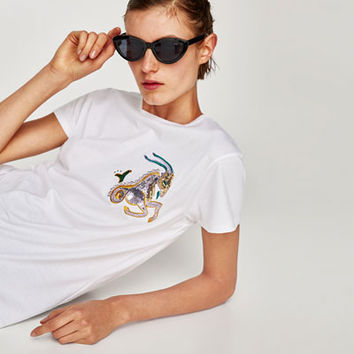 EMBROIDERED HOROSCOPE T-SHIRT