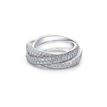 A Perfect 3.65TCW Triple Twist Russian Lab Diamond Ring