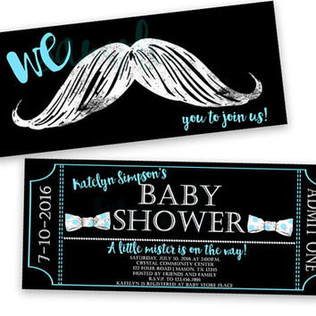 Mustache Baby Shower Invitation   Teal Blue Chalk Moustache Bowt