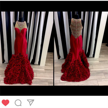 Promotion Crystal Beaded Floor Length Red  Mermaid Prom Dress Off Shoulder Formal Gowns Satin Elegant Prom Gown 2017 ever pretty