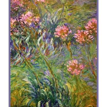 Agapanthus Flowers inspired by Claude Monet's impressionist painting Counted Cross Stitch or Counted Needlepoint Pattern