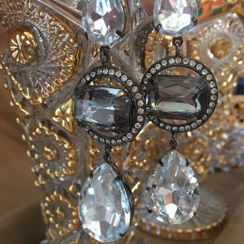 Glamourous Signed Graziano 90's Big Bold Bling Runway Statement Ice Gem & Rhinestone  3.5 inch Glizty Hollywood Moviestar Dangle Earrings
