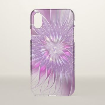 Pink Purple Flower Passion Abstract Fractal Art iPhone X Case