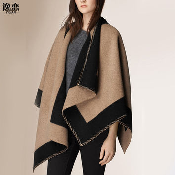 YILIAN Brand New luxury Brand Color matching cashmere Poncho winter thicker warm shawls wrap double side  cape Echarpes YL-70087