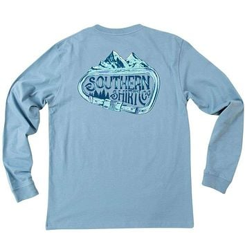 Carabiner Long Sleeve Tee Shirt in Provincial Blue by The Southern Shirt Co.
