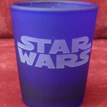 STAR WARS,   Hand Etched on Cobalt Blue Shot Glass