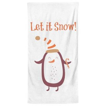 Festive penguin Large Bath Towel