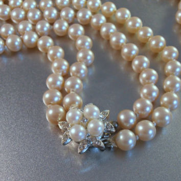 Trifari style Pearl Necklace with Rhinestone Clasp, Hand Knotted 2 Strand Glass Pearl, Bridal Wedding Jewelry