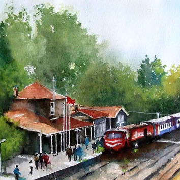 Original Watercolor Painting, Old Train Station, Turkey, Original Painting