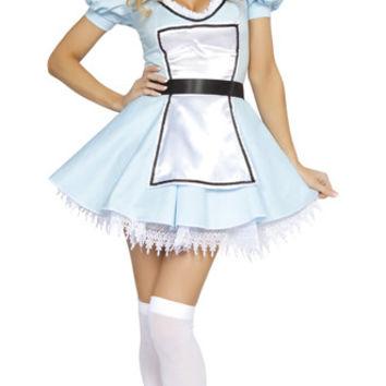 3 PCS Sweet Alice Costume Adult Cosplay French Maid Sky Blue Dress Sexy Costume LC8394 New Halloween Sweet Wonderland Costume