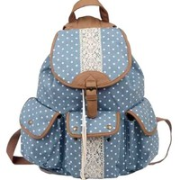 Multi-function Practical large capacity Leisure outdoor Canvas Polka Dot Rucksack Backpack campus Tote Handbag Satchel Campus computer travel Book bag Schoolbag for teen girls / college student (sky-blue):Amazon:Sports & Outdoors