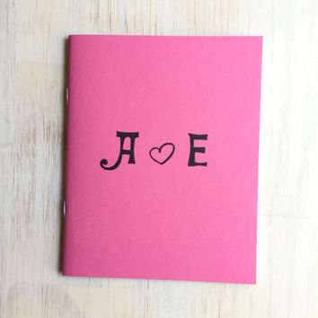 Notebook: Custom, Gay Wedding, Wedding, Pink, Gift, Medium Notebook, Love, Monogram, Wedding Favor, Favor, Cute, Journal, Unique, Gift, VV