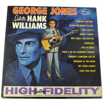 Vintage 60s George Jones Salutes Hank Williams Mono Country Album Record Vinyl LP