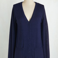 Americana Mid-length Long Sleeve Have a Good Knit Cardigan in Navy