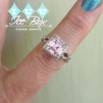 Cultured Asscher Pale Pink Sapphire Engagement  Ring -  3.6ct, 8mm Asscher Pale Pink Sapphire set in a 14k White Gold Diamond Setting