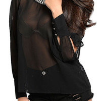 Black Sexy Sheer Jeweled Neckline Key-Hole Back Cold Shoulder Top