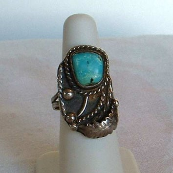 Native American Turquoise Ring Size 7.5 Sterling Silver Stylistic Flower Vintage
