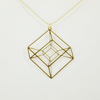 Hypercube- Gold Geometrical necklace- Tesseract- 24 karat gold plated necklace- 4D cube necklace