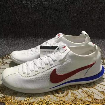Best Deal Online Nike Cortez Flyknit Running Shoes White Blue Red AA2029 100