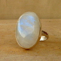Moonstone statement Ring, Gemstone Ring, Cocktail ring, Sterling silver Ring,Size 8.5