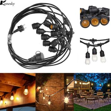 Konesky Waterproof 9m 30ft 9 Heads E27 40W String Light Pendant lights for Garden Porches Pergola Outdoor Decor retro Wall Lamp