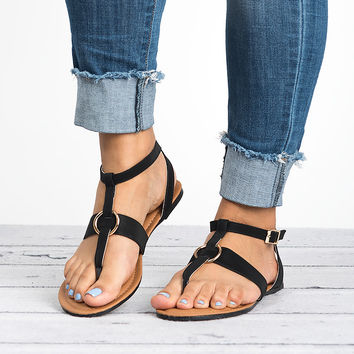 Strappy Thong Sandals - Black
