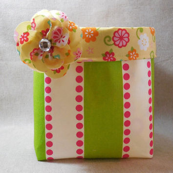 Lime and White Striped Fabric Basket With Yellow Floral Liner and Detachable Fabric Flower Pin