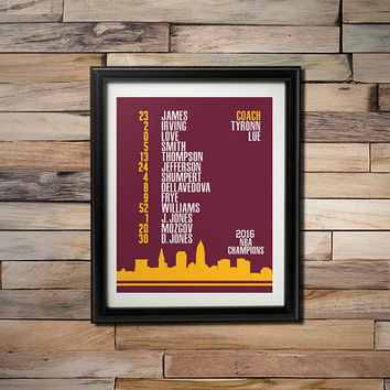 2016 NBA Champions -  Cleveland Cavaliers Playoff Roster with City of Cleveland Skyline 16X20 Poster