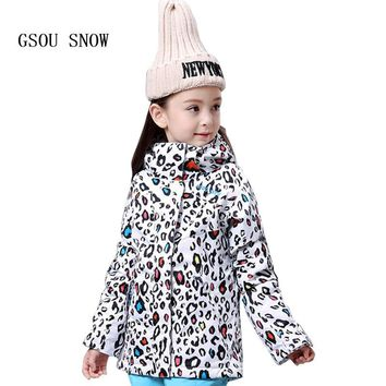 GSOU SNOW Children Hoodie Ski suit Winter Warmth Snow Coats Windproof Waterproof keep warm Outdoor Girls Snowboard Ski jackets