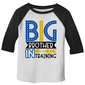 Shirts By Sarah Boy's Toddler Big Brother in Training T-Shirt Promoted Shirt Baby 3/4 Sleeve Raglan