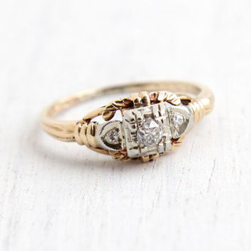 Vintage 14K Yellow & White Gold Old European Diamond Ring - Size 5 1/2 Art Deco 1940s Fine Jewelry Dated 3-14-42 Hallmarked Fidelity