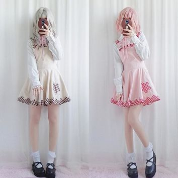2018 spring new Japanese college style cute girl soft sister lace plaid student strap Lolita dress female