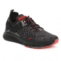 PUMA Mens Black/Red IGNITE evoKnit Lo Pavement Trainers