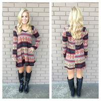 Multi Color Aztec Knit Long Sleeve Dress