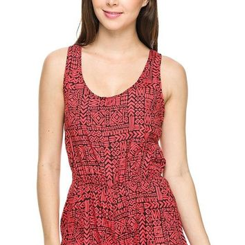 Casual Aztec Printed Round Neck Sleeveless Tank Top Romper