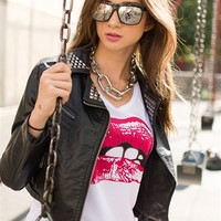 In a Zip Studded Faux Leather Crop Moto Jacket - Black from Ambiance Apparel at Lucky 21