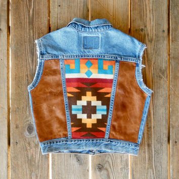 Vintage Levi's Distressed Denim Vest with Colorful Navajo Pendleton and Distressed Tan Leather Top-Stitched on Back.