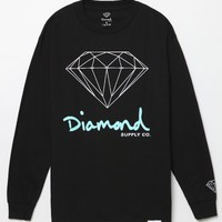 Diamond Supply Co OG Script Logo Long Sleeve T-Shirt - Mens Tee - Black